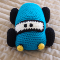 Barry the blue racing car, crocheted by CuddleCorner, OOAK