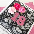 Happy Birthday XLARGE custom 18 21 30 40 50 design black lace pink floral card