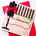 Celebrate birthday female her mannequin crown red stripe monochrome green card
