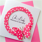 Newborn baby girl congratulations pink polka dots elephant celebrate card