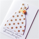 Congratulations presentation ball girl her gold glitter dress pearls card