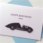 Happy birthday sports vintage car male celebrate lasercut  card