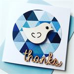Thanks blue geometric wooden lasercut bird friend her him thankyou card