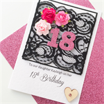 Happy Birthday XLARGE custom 18 21 30 40 50 design black lace pink floral card