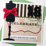 Female her mannequin crown red stripe celebrate monochrome green glitter card
