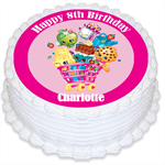Shopkins Personalised Edible Round Cake Topper - PRE-CUT
