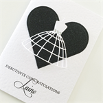 Congratulations debutante ball girl her white dress stylish black heart card