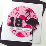 Happy Birthday custom pink black flamingo stylish on trend her card