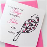 Female her happy birthday custom name age black pink silhouette bird card