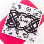 Love anniversary monochrome celtic white glitter heart her him card