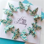Happy birthday female lady mum friend sister teal aqua butterfly celebrate card