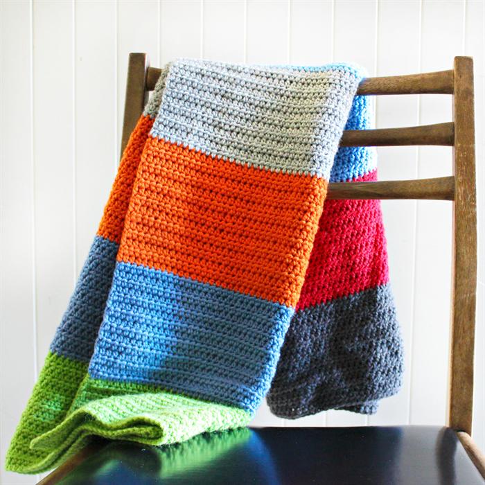 Crochet Baby Blanket Rainbow Stripes Wool Baby Boy Gift