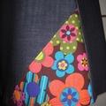 Denim Skirt with 70s Flowers & Bamboo Stretch Waist