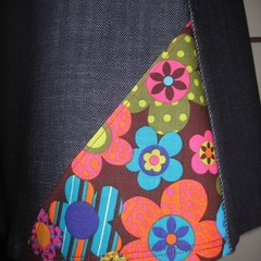 Denim Skirt with 70s Flowers & Bamboo Stretch Waist