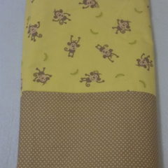 Monkey Baby Blanket / Cot Cover / Quilt / Play Mat. Yellow & Brown