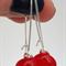 Red Sterling SIlver Fused Glass Long Danglies Earrings