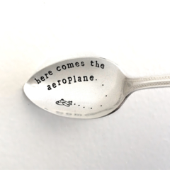 Here Comes The Aeroplane - Hand Stamped Vintage Silver Spoon Baby Shower Cutlery
