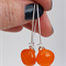 Orange Sterling Silver  Fused Glass Long Danglies Earrings