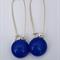 Blue Sterling Silver  Fused Glass Long Danglies Earrings
