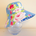 Girls summer hat in blue roses fabric