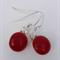 Fused Glass Danglies Earrings ~  Deep Red ~ Sterling Silver
