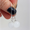 White Sterling Silver  Fused Glass Long Danglies Earrings