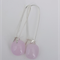 Cotton Candy Pink Sterling Silver  Fused Glass Long Danglies Earrings