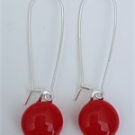 Red Sterling SIlver Fused Glass Long Danglies Earrings