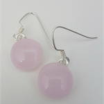 Fused Glass Danglies Earrings ~ Pale Pink ~ Sterling Silver