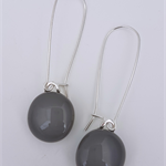Grey Sterling SIlver Fused Glass Long Danglies Earrings