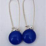 Blue Sterling Silver  Fused Glass Long Danglies Earrings