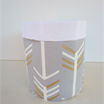 Sold - Shelly Beach Market 28.1.17 Storage Basket -  Grey Gold and White Arrows