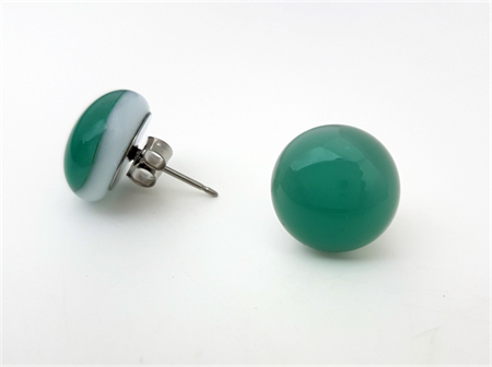 Burst of Colour Sea Green Fused Glass Earrings