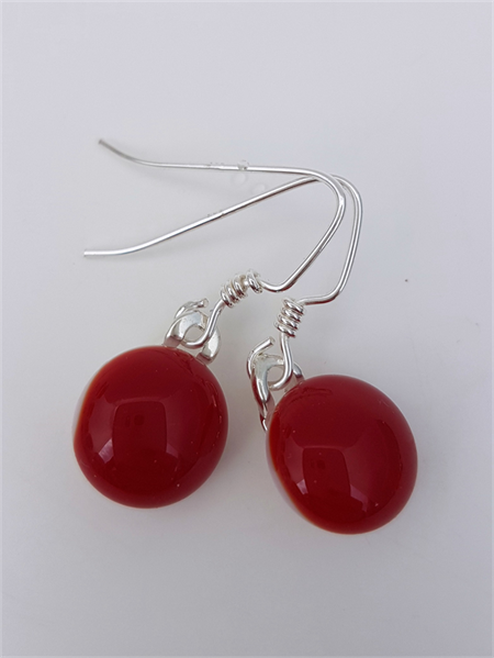 Fused Glass Danglies Earrings ~  Deep Red ~ Sterling Silver
