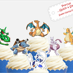 Pokemon evolved EDIBLE cupcake cake toppers PRE-CUT baby shower boy girl