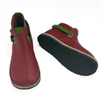 burgundy and olive green leather children shoes, boots