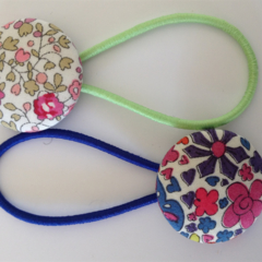 Mixed 28mm Liberty fabric button hairties