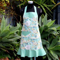 Stylish Ladies Apron with Frill in Green Floral Fabric