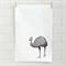 Australian emu screen printed linen tea towel