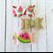 Watermelon Clip Trio - Gold Glitter - Pink - Felt Bow - Baby/Girl Accessory