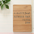 1st Father's Day custom card laser cut bamboo wood Happy first Fathers Daddy Dad