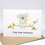Australia Card - Koala holding wattle - AUS015 - G'Day from Australia.