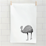Australian emu screen printed linen tea towel