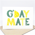 Australia Card - G'DAY MATE - AUS016 - A Geometric Green and Gold G'Day Mate