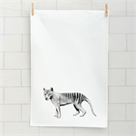 Tasmanian tiger screen printed linen tea towel