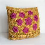 Decorative Cushion | Retro | Flowers | Lounge | Bedroom | Sofa | Hand Knitted