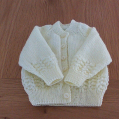Yellow Baby Cardigan to fit size 0 to 3 months.