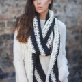 Unisex crochet cowl white black infinity scarf moëbius scarves