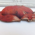 Sleepy Sly Fox Wooden Brooch