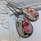 Vintage Rose & Butterfly Print Earrings